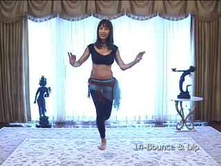 Shamira demonstrating basic bellydance moves