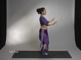 Azhia demonstrates the side view of a bellydance horizontal figure eight